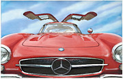 Gullwing Framed Prints - Mercedes Gullwing Framed Print by Rod Seel