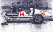 Mercedes Paintings - Mercedes W25C Monaco GP 1936 Manfred von Brauchitsch by Yuriy  Shevchuk