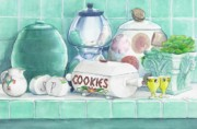 Cookie Painting Prints - Merceil Phyllis and Pat Print by Jane Loveall