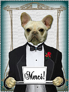 French Bulldog Greeting Card Posters - Merci say French Bulldog Poster by Maxine Bochnia