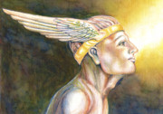 Greek Gods Paintings - Mercury - Watercolor Painting by Christine Marsh