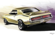 Automobile Artwork. Prints - Mercury Cougar Eliminator Print by Uli Gonzalez