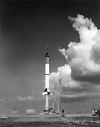 Cape Canaveral Prints - Mercury Flight Print by Photo Researchers, Inc.