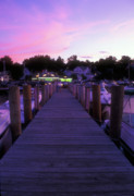 Meredith Framed Prints - Meredith NH Boardwalk at Twilight Framed Print by John Burk