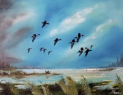 Ducks Paintings - Merganser Ducks on the Marsh by Greg Morris