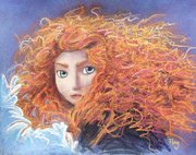 Disney Pastels Posters - Merida from Pixars Brave Poster by Andrew Fling