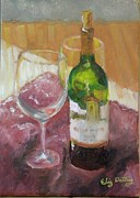 Wine Bottle Paintings - Merlot and friends by Liz Dettrey