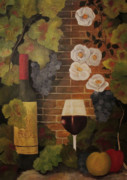 Wine Bottle Paintings - Merlot for the love of Wine by John Stuart Webbstock