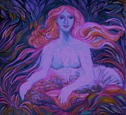 Female Art Mixed Media Print Mixed Media Posters - MERMAID 2 - Art Deco Poster by Gunter Erik Hortz
