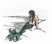 Siren Drawings - Mermaid Amphitrite Queen of the Sea by Marjorie Smith