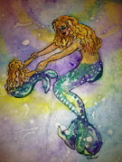 Child Swinging Painting Prints - Mermaid and Child Print by Gloria Avner