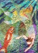 Beach Tapestries - Textiles Posters - Mermaid and Fish Poster by Nicole Besack