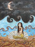 Extinct And Mythical Pastels Originals - Mermaid and Moon by Rain Ririn