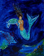 Under The Ocean Prints - Mermaid And The Sea Turtle Print by Leslie Allen