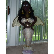 Cloth Doll Sculptures - Mermaid Angel by Cassandra George Sturges