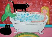 Mermaid Lovers Framed Prints - Mermaid Bath and Her Cats Framed Print by Christine Quimby