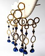 Mermaid Jewelry Originals - Mermaid Bubble Hoops With Kyanite And Lapis Lazuli by Adove  Fine Jewelry