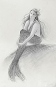 Extinct And Mythical Drawings Posters - Mermaid Christina in the sunshine Poster by Tina Obrien