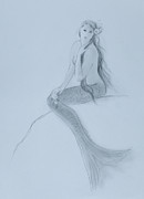 Extinct And Mythical Drawings Prints - Mermaid christina touching her hair Print by Tina Obrien
