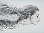Hair Drawing Posters - Mermaid Poster by Diego Fernandez