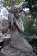 Garden Ornaments Posters - Mermaid Fountain Poster by Joyce StJames