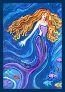 Purple Heart Painting Posters - Mermaid Poster by Paintings by Gretzky