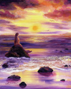 Zenbreeze Posters - Mermaid in Purple Sunset Poster by Laura Iverson