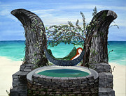 Devonne Prints - Mermaid Island Dream Print by Karen Devonne Douglas