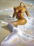 Women Painting Metal Prints - Mermaid Metal Print by Karina Llergo Salto