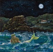 Make Believe Painting Posters - Mermaid Poster by Lou Cicardo