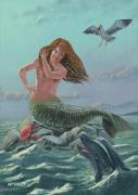 Digital Fairies Prints - Mermaid On Rock Print by Martin Davey