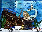 Antique Glass Art - Mermaid Paradise   Original by Phil And Brenda Petersen