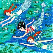 Sue Burgess Ceramics Posters - Mermaid race Poster by Sushila Burgess
