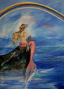 Little Mermaid Paintings - Mermaid Rainbow Wishes by Leslie Allen