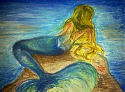 Fantasy Sea Pastels Prints - Mermaid Print by Rita Fernandes