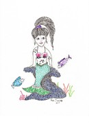 Extinct And Mythical Drawings Prints - Mermaid Under the Sea Print by Paula Dickerhoff