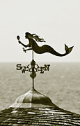 Monocromatico Posters - Mermaid Weathervane In Sepia Poster by Ben and Raisa Gertsberg