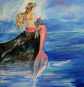 Sitting On Rock Prints - Mermaid Wishes Print by Leslie Allen