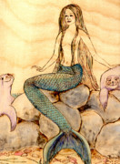 Woodburning Prints - Mermaid with Seals Print by Pauline Ross
