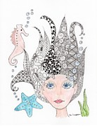 Mermaid Drawings - Mermaiden by Paula Dickerhoff