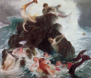 Leaping Posters - Mermaids at Play Poster by Arnold Bocklin