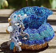 Ocean  Glass Art Originals - Mermaids Basket by Patricia Griffin Brett