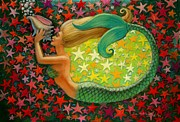 Sue Halstenberg Acrylic Prints - Mermaids Circle Acrylic Print by Sue Halstenberg