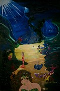 Under The Ocean  Paintings - Mermaids Day by Janna Baker
