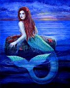 Mermaid Art Paintings - Mermaids Dinner by Sue Halstenberg