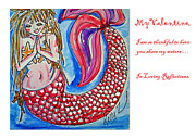 Mermaid Lovers Posters - Mermaids Loving Reflection Poster by Kelly     ZumBerge