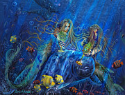 Mermaid Art Paintings - Mermaids Of Acqualainia by Steve Roberts