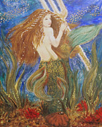 Neptune Painting Prints - Mermaids Trident Quest Print by Veronica Zimmerman