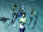Delphinidae Posters - Mermaids With Dolphins Poster by Christian Darkin