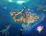 Lionfish Paintings - Mermalien Odyssey by Patrick Anthony Pierson